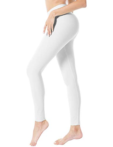 Natural Feelings High Waisted Leggings for Women Pack Ultra Soft Stretch Opaque Slim Yoga Pants White