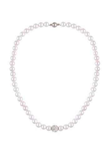 Leslii Damenkette Perlen-Collier Perlenkette Strass-Anhänger Kurze Halskette weiße Modeschmuck-KetteLänge 43cm Magnetverschluss in Weiß Silber