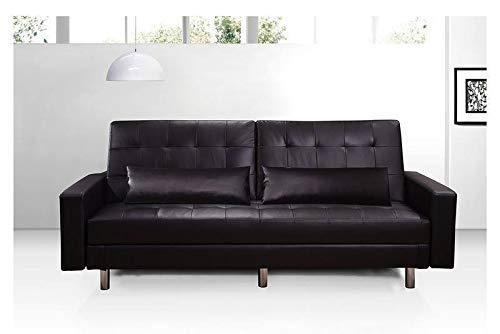 Gstore Divano 3 posti Letto Contenitore Hugo' RECLINABILE JS-397 (Nero, Ecopelle) casa Ufficio Salotto Design Moderno