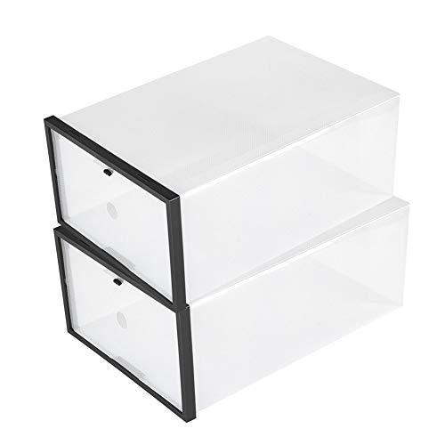 Wilecolly Caja de Zapatos con Marco de cajón, Caja de Almacenamiento de Zapatos de cajón de plástico Plegable Transparente Organizador de Caja apilable(Negro)