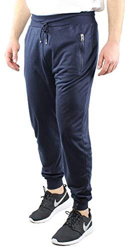Pantalone Tuta Uomo in Cotone Leggero Primavera Estate Blu Nero Grigio Pantatuta Primaverile Elastico in Vita e alle Caviglie (Blu, L)