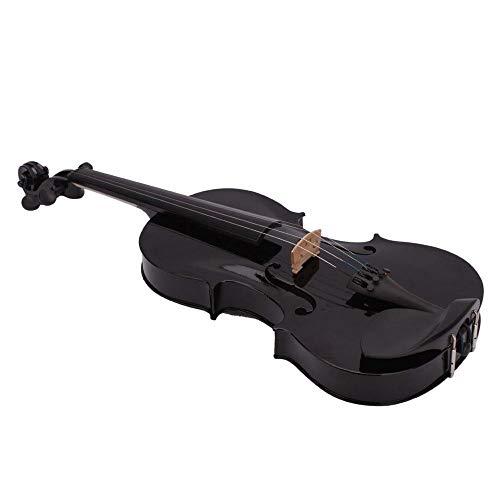 PQZATX 4/4 completo Dimensione Acustico Violino Nero con Astuccio Arco Colofonia