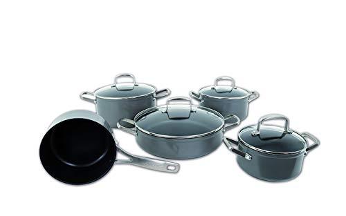 ARCPJ Endura Batería de Cocina, Acero_Inoxidable, Negro, 5