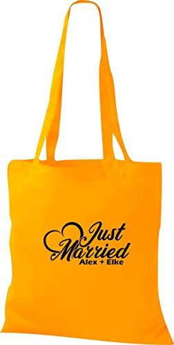 Shirtstown Tote Bag, Just Married Matrimonio Cuore Amore Mr. e Mrs. con Nome a Scelta - giallo dorato, 38 cm x 42 cm