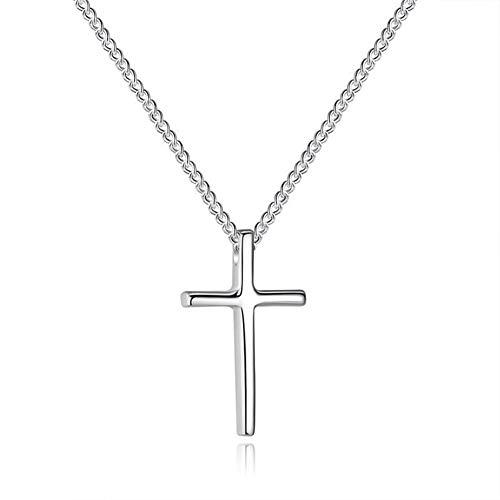 BGDRR Regalos Declaración de joyería de Moda de Plata del Color Largo de la Cruz Collares Collares Las Mujeres del Partido (Color : A)