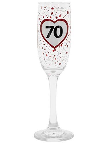 MIK Funshopping Flûte à champagne « Alles Gute zum Geburtstag » - Happy Birthday 18, 30, 40, 50, 60, 70 ans - Hauteur 22 cm