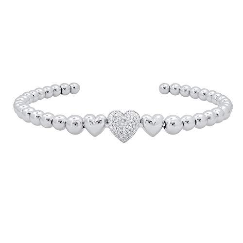 Dazzlingrock Collection Pulsera de plata de ley de 0,25 quilates de diamante blanco redondo para mujer con cuentas de corazón de 1/4 quilates