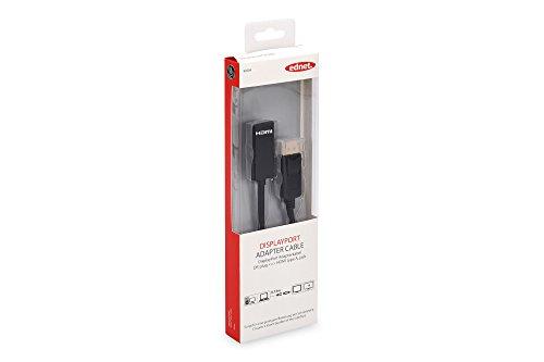 ednet 84504 DisplayPort Grafik Adapter, DP zu HDMI Typ A, Full HD 60Hz, 1920x1080 Pixel, Schwarz