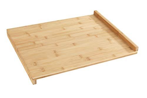 WENKO Schneidebrett mit Anlegekante Bambus - Küchenbrett mit Anlegeleiste, Bambus, 45 x 1.5 x 35 cm, Braun