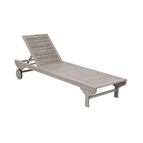 Greemotion Gartenliege Maui Sonnenliege Holz grau-Liegestuhl mit Rollen für Garten, Terrasse & Balkon-Outdoor Rollliege Kopfteil verstellbar, 19,5 x 6,5 x 1 cm