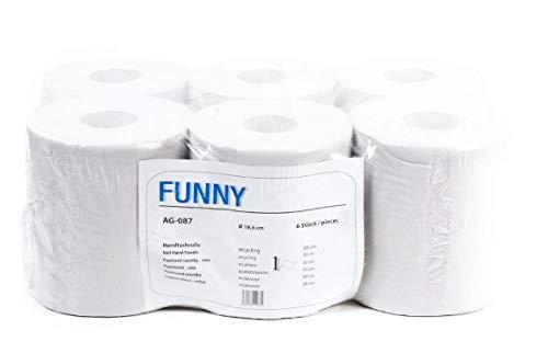 Funny - Rotolo di carta asciugamani, 20 cm, 1 velo, 1 x 6 pezzi, colore: Bianco riciclato