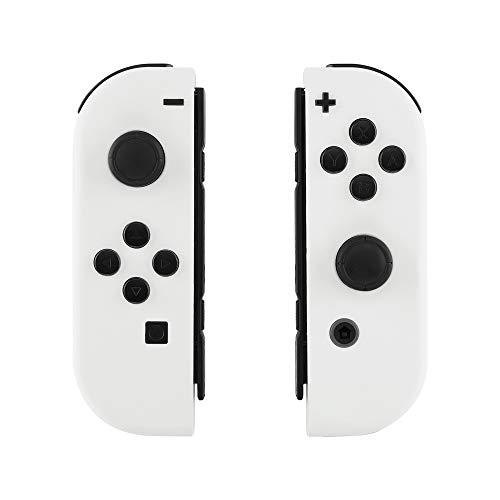 eXtremeRate NS Hülle Gehäuse Case Cover Schale Schutzhülle Tasche Kit für Nintendo Switch Joycon Controller mit vollständige Tasten(Weiß)-Keine Console Hülle
