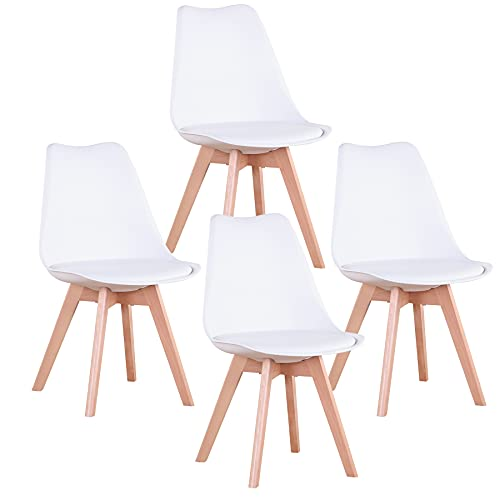 EGOONM Set di 1 2 4 Sedie da Pranzo Scandinave, Sedie da Imbottite Retrò da Cucina Sedia da Ufficio con Gambe in Legno massello di faggio (Bianco, 4 sedie)