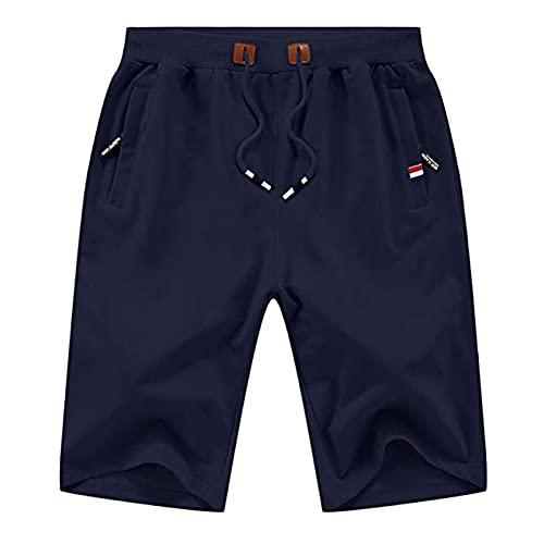 XDXT Pantalones Cortos para Hombres Casual Classic Fit Drawstring Summer Beach Shorts M