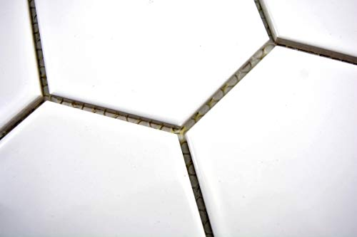Handmuster Mosaik Fliese Keramik Hexagon weiß glänzend Küche Fliese WC Badfliese MOS11F-0101_m
