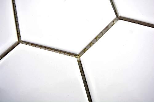 Mosaik Fliese Keramik Hexagon weiß glänzend Küche Fliese WC Badfliese MOS11F-0101_m