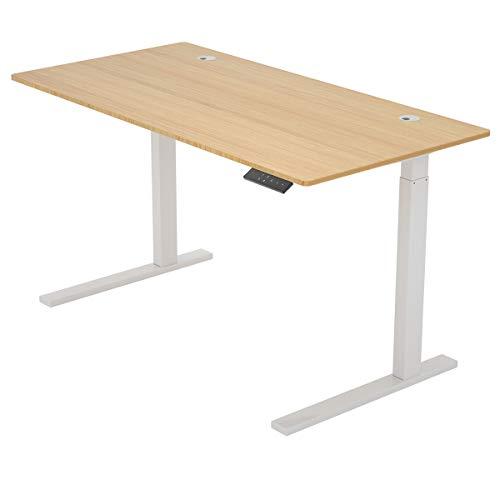 "ZHU CHUANG Height Adjustable Desk Electric Standing Desk Stand up Desk Home Office Desk Dual Motor Natural Color 100% Solid Bamboo (60"" Rectangle, Desktop and Frame)"