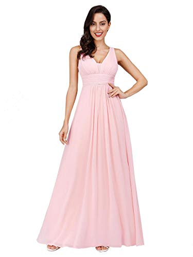 Ever-Pretty Damen Chiffon V-Ausschnitt Lang Abendkleider Abschlussball Kleider Größe 48 Rosa
