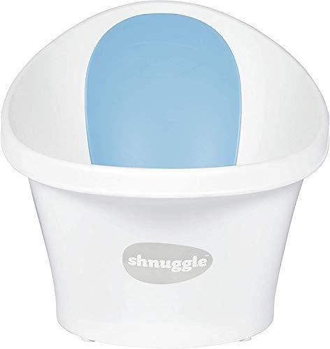 Shnuggle - Bañera para bebé de hasta 12 meses con tapón en la parte inferior, color blanco con respaldo azul – 1,2 kg