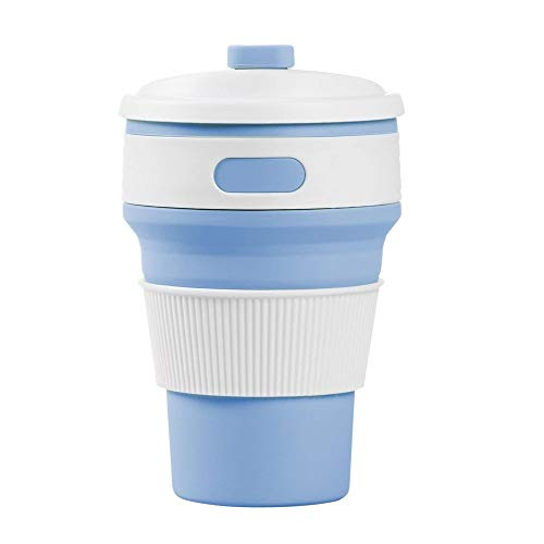 Ruosaren Collapsible Coffee Mug Foldable 12oz Drinking Cup with Lid for Water, Coffee, Tea, Soft Drinks, Ideal for Camping, Travel, Hiking, Picnic, Lunch