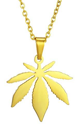Collar Colgante mujer y hombre Acero Inoxidable 316L o Acero Quirurgico,No alergias,No decolora,cadena 45cm (Marihuana dorado)