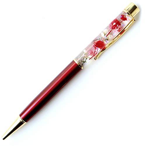 ハーバリウム ボールペン 太さ1.0mm 専用ケース付 花 母の日 フラワー (ワインレッド)