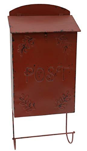 Nostalgischer Briefkasten Postkasten mit Zeitungsablage Zeitungsrolle Vintage Rot Eisen H66cm VH84284