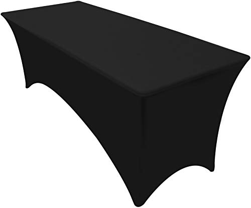Utopia Kitchen Rectangular Stretch Tablecloth - 6 Feet - Spandex Tight Fit Table Cover - Black (Black, Single Pack)