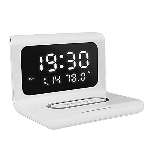 Rrunzfon Multifuncional en Las Tres-en-uno Despertador Cargador inalámbrico LED Electronico estación de Carga del Reloj Soporte para teléfono Blanca