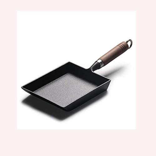 YWSZJ Hierro sartén Antiadherente-Pan for Gas Inducción y Estufa eléctrica, Libre de Aceite del sartén con Bandeja de Horno Rectangular, 18 Cm Negro