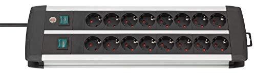 Brennenstuhl Premium-Alu-Line regleta enchufes con 16 tomas de corriente y 2 interruptores individuales (cable de 3 m, interruptor iluminado, Hecho en Alemania) plateado/negro