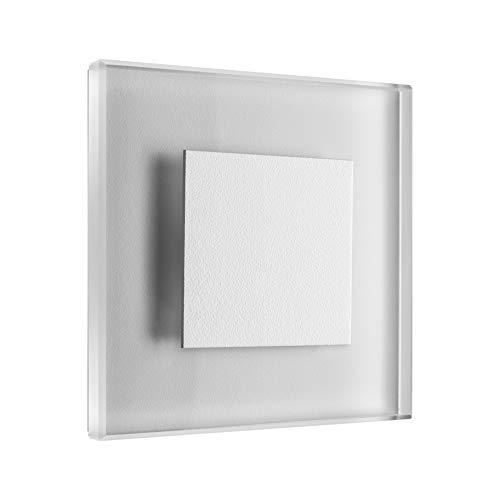 LED Treppenbeleuchtung Premium SunLED Small 230V 1W Echtes Glas Wandleuchten Treppenlicht mit Unterputzdose Treppen-Stufen-Beleuchtung Wand-Einbauleuchte (ALU: Weiß; LICHT: Warmweiß, 7 Stück)