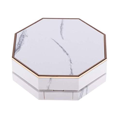 Inzopo 15 ml weiße, leere luxuriöse Aufbewahrungsbox mit Luftkissenquaste und Spiegel, tragbar, 28 mm hoch