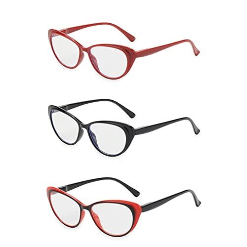 Gafas de Lectura, 3 unids Retro Lectura Gafas for Hombres Hombres, Anti deslumbramiento Ultra presbicia, Ultraligero Gato Ojo Claro anteojos claros (Color : +2, Size : 3pcs)
