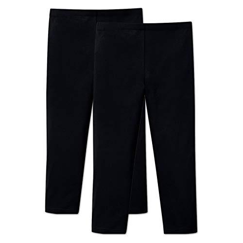 ORIGINAL BASICS Mädchen 3/4 Capri Leggings aus Baumwolle Kurz Blickdicht Normaler Bund (2 Pack) Schwarz 152/164