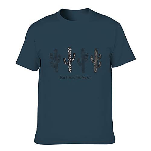 Camiseta de algodón para hombre, diseño de cactus azul marino XL