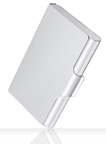 """MaxGear Professional Metal Business Card Holder Pocket Business Card Case Business Card Wallet Business Card Carrier for Men & Women, 22-30 Cards, Large Capacity, 3.7"""" x 2.45"""" x 0.6"""", Aluminum, Silver"""