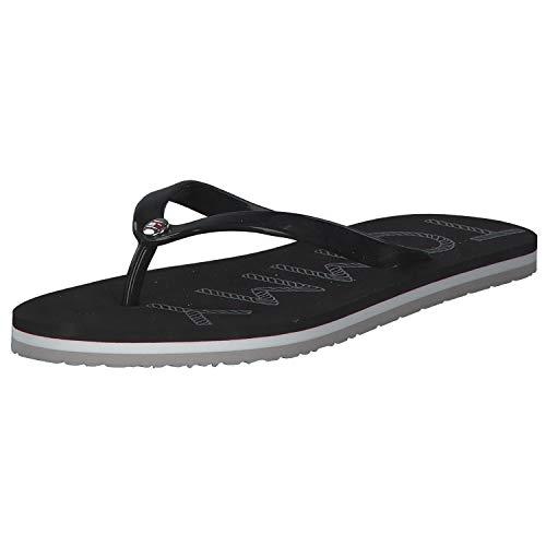 Tommy Hilfiger Tommy Footbed Flat Beach Sandal, Sandalias con Punta Abierta para Mujer, Negro (Black Bds), 40 EU
