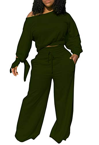 Women's Solid Two Piece Outfit Long Sleeve Skew Neck Pullover Tops and Drawstring Long Pants Tracksuits Sport Jumpsuits (Army Green, XXXL)