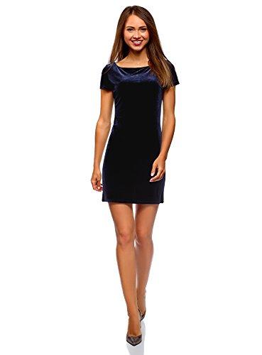 oodji Ultra Mujer Vestido de Terciopelo con Escote Barco, Azul, ES 34 / XXS