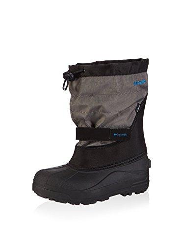 Columbia Youth Powderbug Plus Winter Boot, Black/Hyper Blue, 3 M US Little Kid