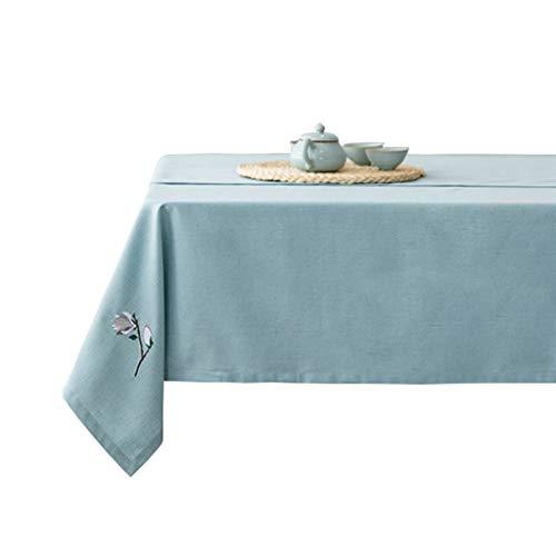 Brx Mantel, Rectangular Azul de algodón y Lino Mantel, Mantel Lavable, Anti-Arrugas no reducibles Mantel (patrón de Flor de la Magnolia) (Size : 140 * 140cm)