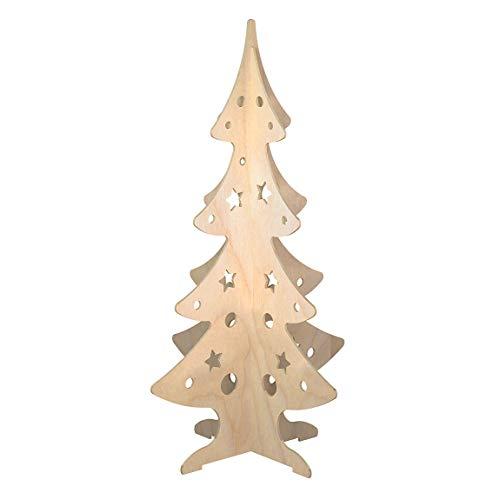 Cemab Albero di Natale grande in Legno, idea regalo, Decorazione natalizia da terra per casa e negozi, attira l'attenzione e promuove i tuoi prodotti. H 150 x L 85 x P 85 cm (Naturale)