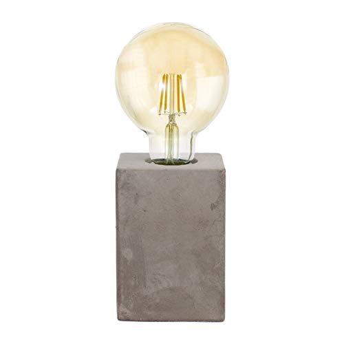 EGLO Tischlampe Prestwick, 1 flammige Tischleuchte Vintage, Industrial, Retro, Nachttischlampe aus Keramik in Grau, Lampe mit Schalter, E27 Fassung