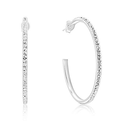 DTP Silver – Pendientes de Medio Aro - Plata 925 con Cristal Austríaco - Diámetro 40 mm – Color: Claro