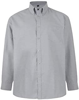 Kam Mens Big Size Long Sleeved Oxford Shirt in Size 2XL to 8XL, Multiple Colour Options