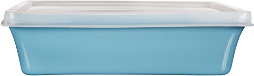 Home Essentials & Beyond Storage 16 oz Rectangular Baker with Lid, Aqua/Clear