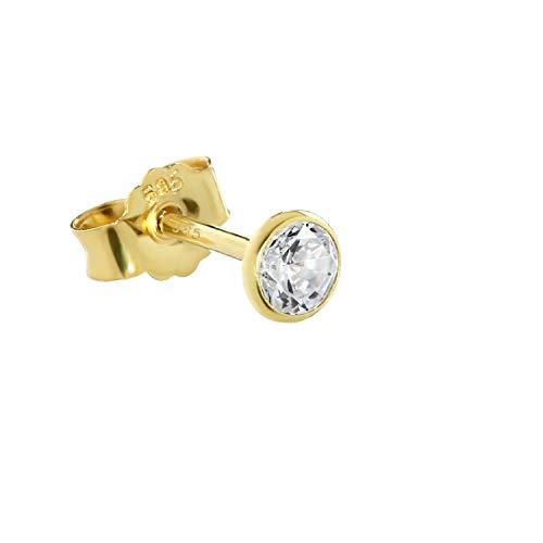 NKlaus Einzel Ohrstecker echt Gold 585er 14 Karat 4,0mm Cubic Zirkonia Damen Herren Kinder 1748