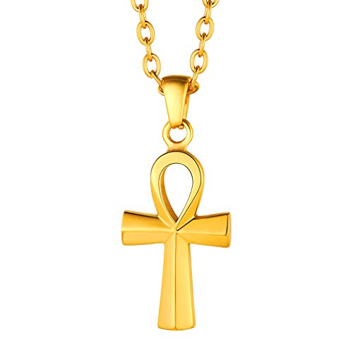 Gold Ankh Cross Necklace African Egyptian Minimalist Jewelry Mythology Vintage Key to Life Egypt Ankh Charm Women 18K Plated Small Cross Pendant