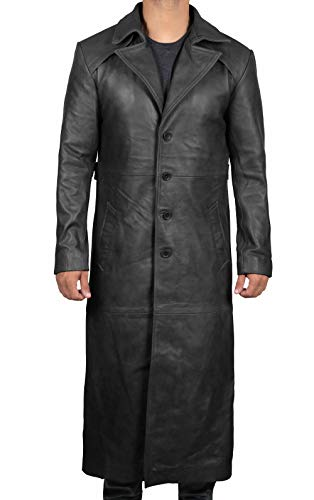 Winter Long Black Leather Jackets for Mens